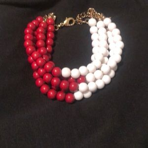 Red and white stack beaded bracelet